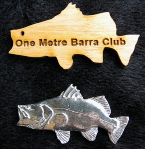Barramundi pin and wooden cut out